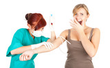 doctor or nurse injecting young woman
