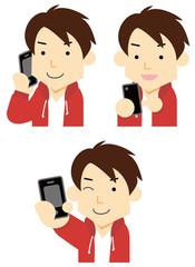 スマートフォンを持つ学生