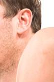 Male unshaven cheek, ear, arm, body part poster