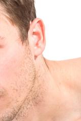 Male unshaven cheek, ear, neck, body part