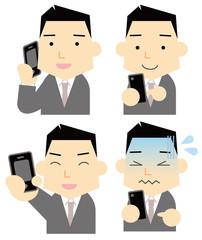 スマートフォンを持つビジネスマン