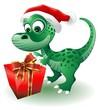 Dinosauro Cucciolo Babbo Natale-Baby Dinosaur Santa Claus-Vector