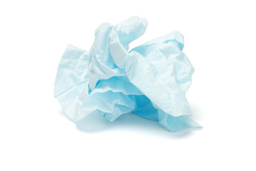 Crumpled facial tissue paper