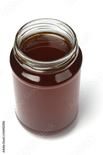 Open jar of honey
