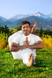 Yoga Advance pose in mountains