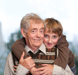 Portrait of a grandfather and grandson