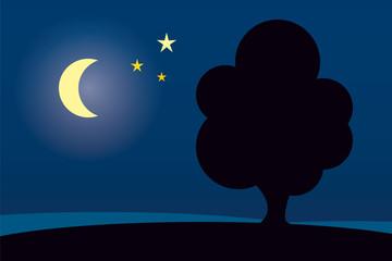 Baum in der Nacht mit Halbmond
