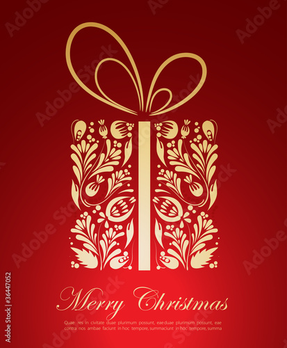 Abstract golden Christmas gift
