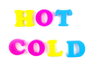 hot and cold writtn in fridge magnets