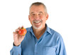 Mann mit Apfel