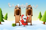 santa claus with his bodyguards enjoying the holidays poster
