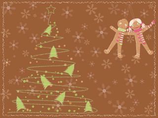 brown card with a christmas tree and gingerbread people