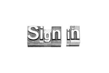 bottone sign in caratteri tipografici