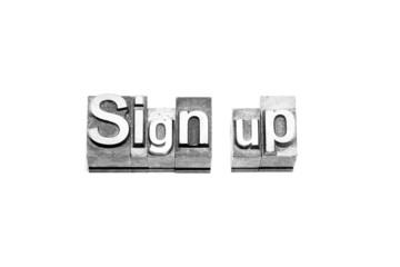 bottone sign up caratteri tipografici