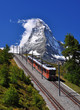 Matterhorn with railroad and train