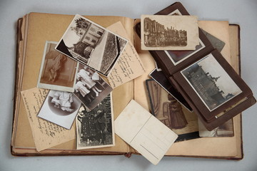 Old books,albums,photos,postcards and letters.