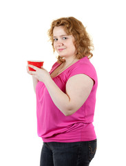 fat unsightly woman with tea cup