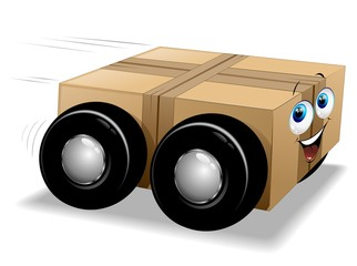 Scatola Cartone Trasporto Cartoon-Cardboard Box Tyres Comics