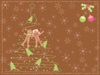 brown christmas card with a chalk scribbled tree