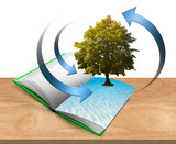 Book with tree and water