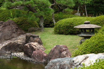 Stone lantern in the japanese garden (Kyoto)