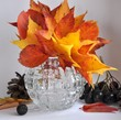 Autumn leaf bouquet in glass vase