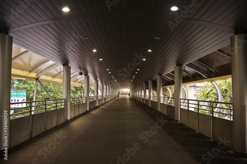 In de dag The walkway of the skytrain station