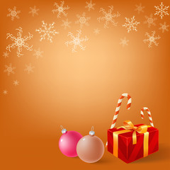Christmas gifts on snowy flake background