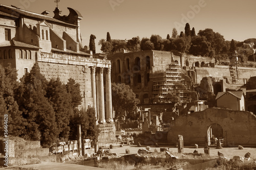 Fori Imperiali ancient ruins in Rome