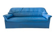 the old blue leather sofa