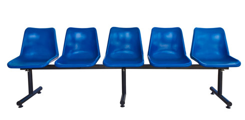 Blue plastic chairs isolated on white