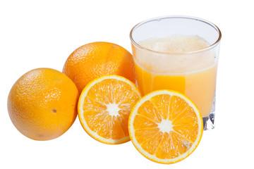 Vaso con zumo de naranjas