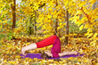 Yoga halasana in autumn