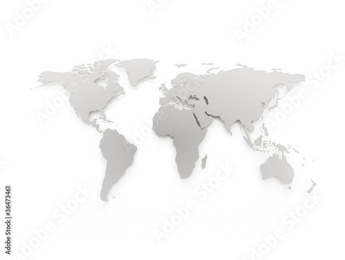 Aluminium Wereldkaart Blue business world map