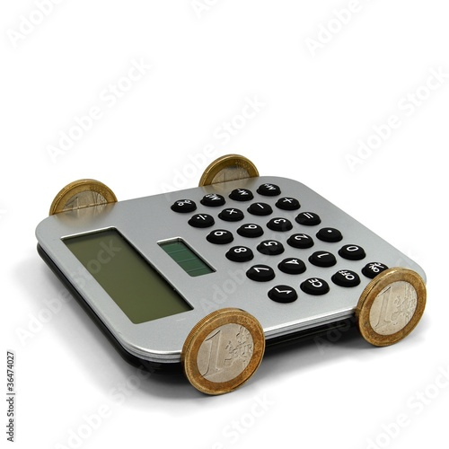 Taschenrechnerauto mit Euromünzen