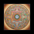 Inner part of ancient tibetan tangka Ohm Mandala on black
