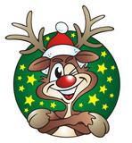 Reindeer twinkling green Button poster