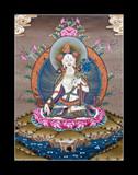Inner part of ancient tibetan tangka White Tara on black poster