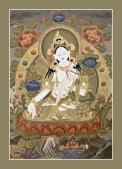 """Inner part of ancient tibetan tangka """"White Tara Goddes"""""""