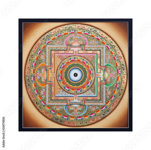 Inner part of ancient tangka Ohm Mandala on white