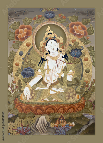 "Inner part of ancient tibetan tangka ""White Tara Goddes"""