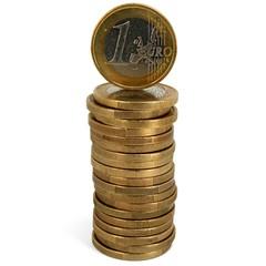 Euromünze auf Podest