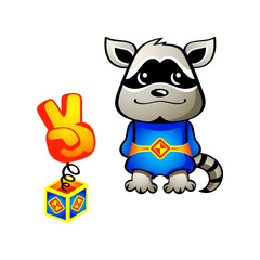 Cute raccoon dog superhero with his super weapon