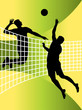 abstract illustration of volleyball players