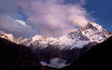 Mount Machapuchare (Fishtail) sunset poster