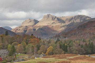 Langdale Pikes from Elterwater, Lake District, Cumbria