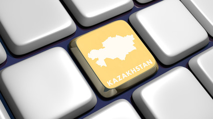 Keyboard (detail) with Kazakhstan map key