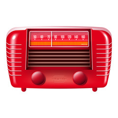 Red vintage radio illustration