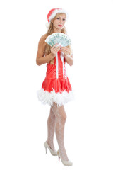 christmas girl with sheaf of money, isolated on white background