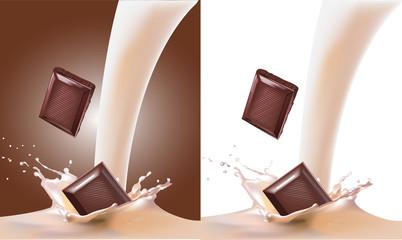 молоко и  шоколад. вектор